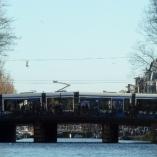 Trams on the bridges.