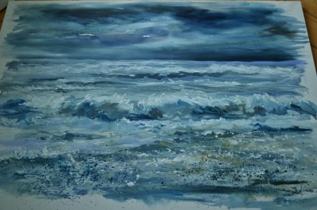 """Sea Gazing"" Finished. 140cm x 110 cm Acrylic on canvas"