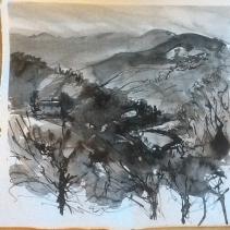 Ink landscape. 30 mins max