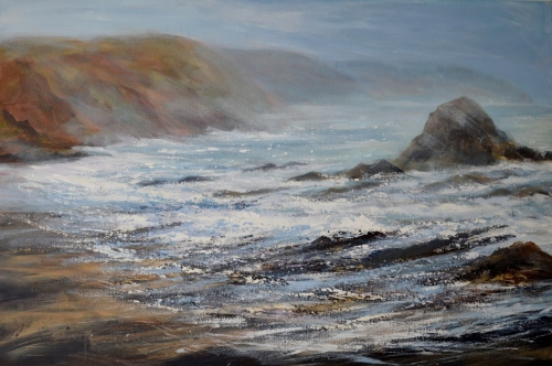 Return to Cornwall, painting by Sue Read of Black Rock Widemouth Bay