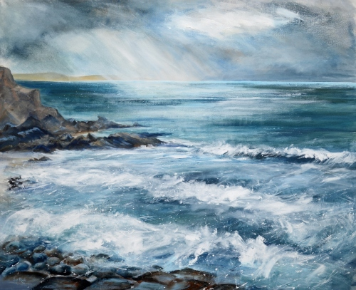 Sea Gazing, from the Breakwater, Bude, painted for the Shellseekers Art Exhibition