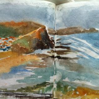 Quick 10 min watercolour before the rain, Western Portugal