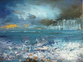 sunshine and showers small oil on board.