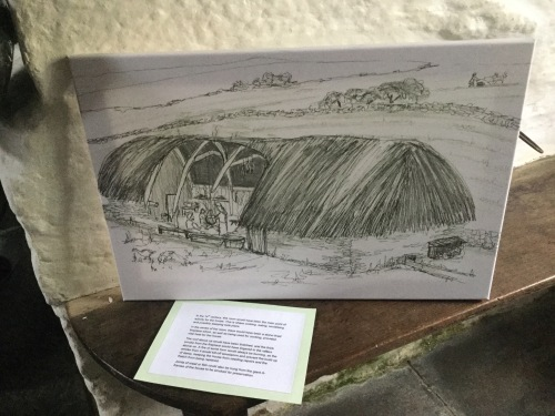 Old Post Office Tintagel Medieval Longhouse. Sketch copyright of artist Sue Read