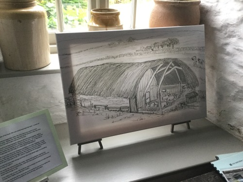 Sketch by Sue Read Old Post Office Tintagel as medieval longhouse